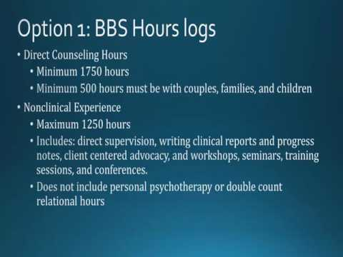California BBS Hours for MFT Option 1: Introduction