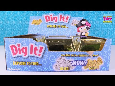 Dig It Hunting For Gold Treasure Gold Bars Hunt Hello Kitty Toy | PSToyReviews