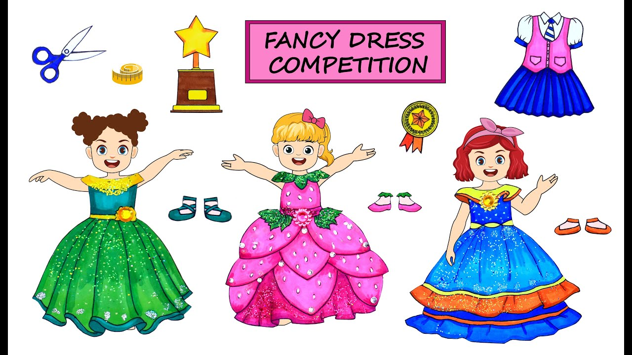 [DIY] Paper Dolls Win on Fancy Dress's Competition! Beautiful Dressing up Handmade Papercrafts