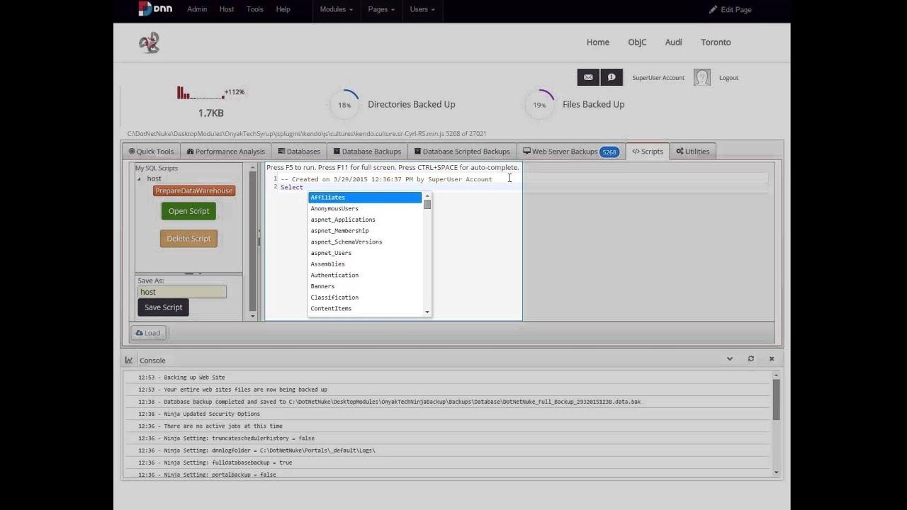 Ninja Backup - DNN Backup and Optimizer Module - YouTube