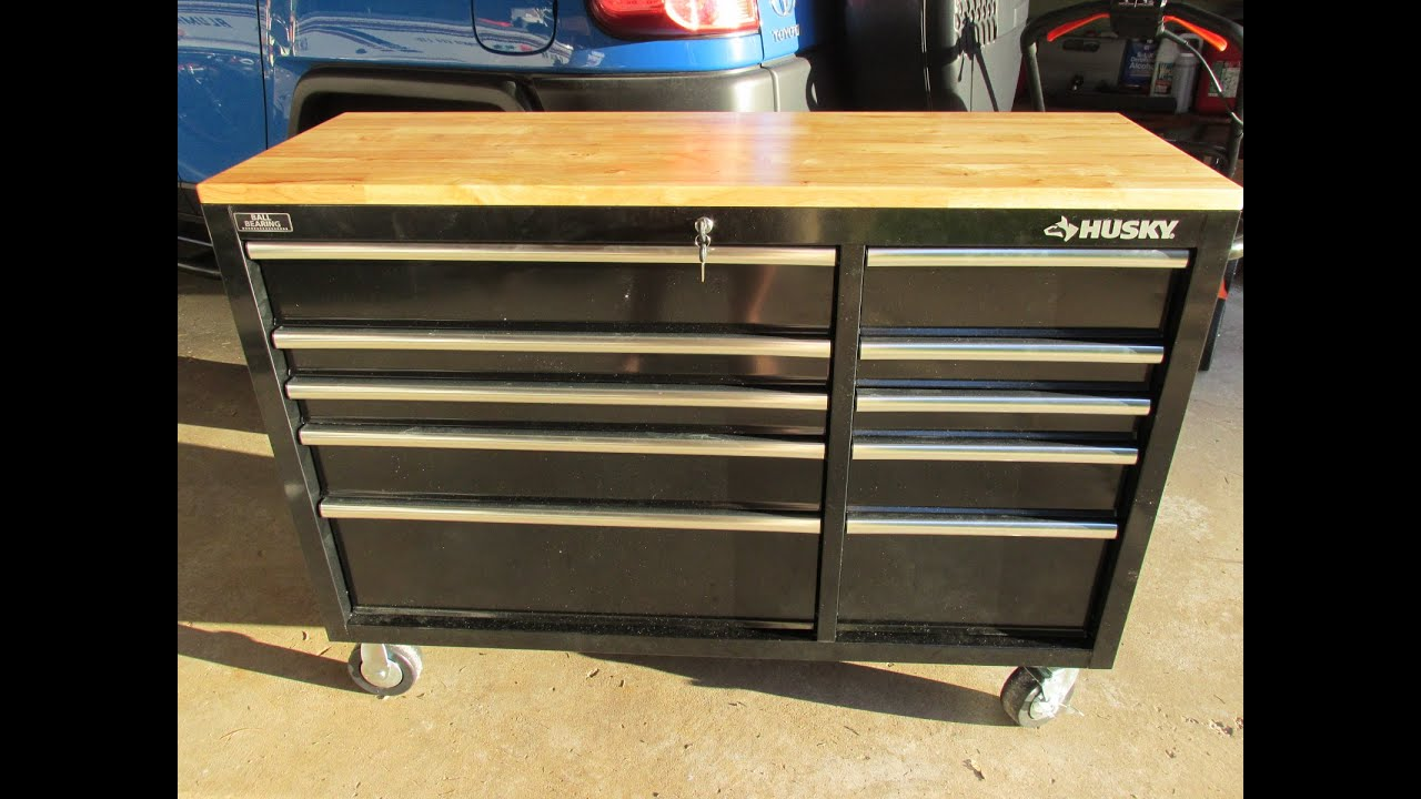 Husky 52 in 10Drawer Mobile Workbench with Solid Wood