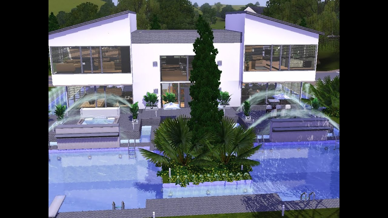 sims 3 haus bauen let 39 s build modernes haus mit gro em pool youtube. Black Bedroom Furniture Sets. Home Design Ideas