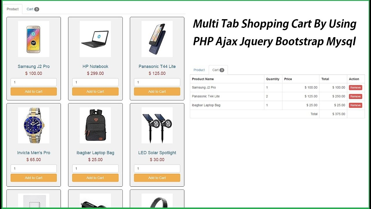 shopping cart using php and mysql free download