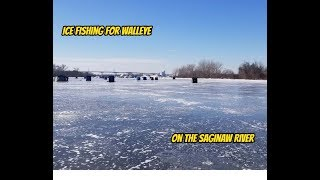 Ice fishing for Walleye on the Saginaw River