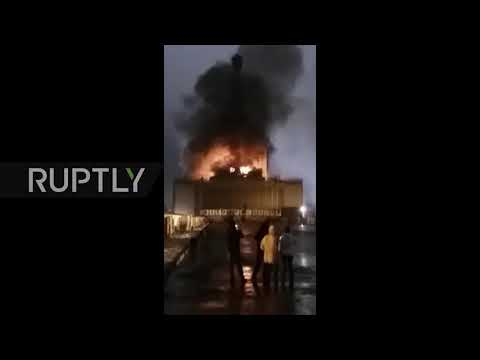 Russia: Two injured in Moscow amusement park building blaze *EXCLUSIVE*