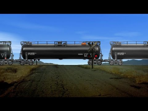 Railroad crossing - heavy tanker train pass animation