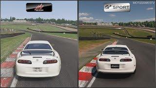 Assetto Corsa vs Gran Turismo Sport - Toyota Supra at Brands Hatch