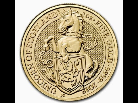 2018 Great Britain 1 Oz Gold Queen's Beasts The Unicorn (BU) And Bitcoin