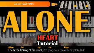 How to Play Alone (Heart) on Piano or Keyboard with chords & lyrics Tutorial видео
