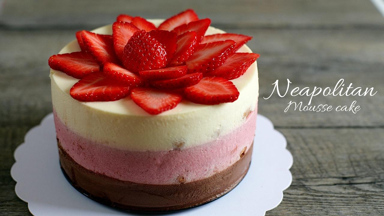 (no-oven) NEAPOLITAN MOUSSE CAKE recipe – Cách làm bánh MOUSSE DÂU, CHOCOLATE, VANI