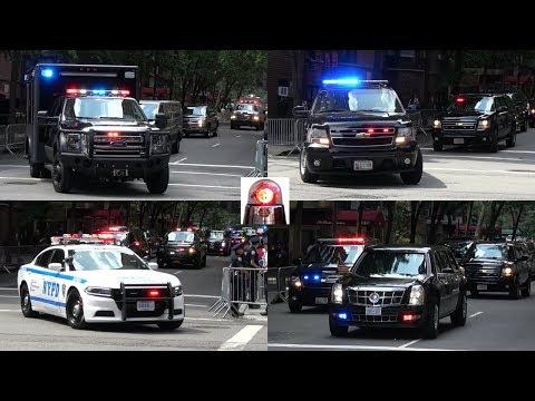 Massive President Donald Trump Motorcade in New York Leaving Trump Tower - Secret Service in Action