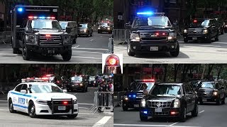 Massive President Donald Trump Motorcade in New York Leaving Trump Tower - Secret Service in Action