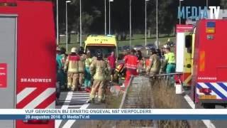 Zeven gewonden bij twee flinke ongevallen op de N57 Vierpolders