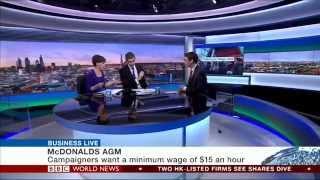 McDonalds faces US minimum wage protests - BBC Business Live
