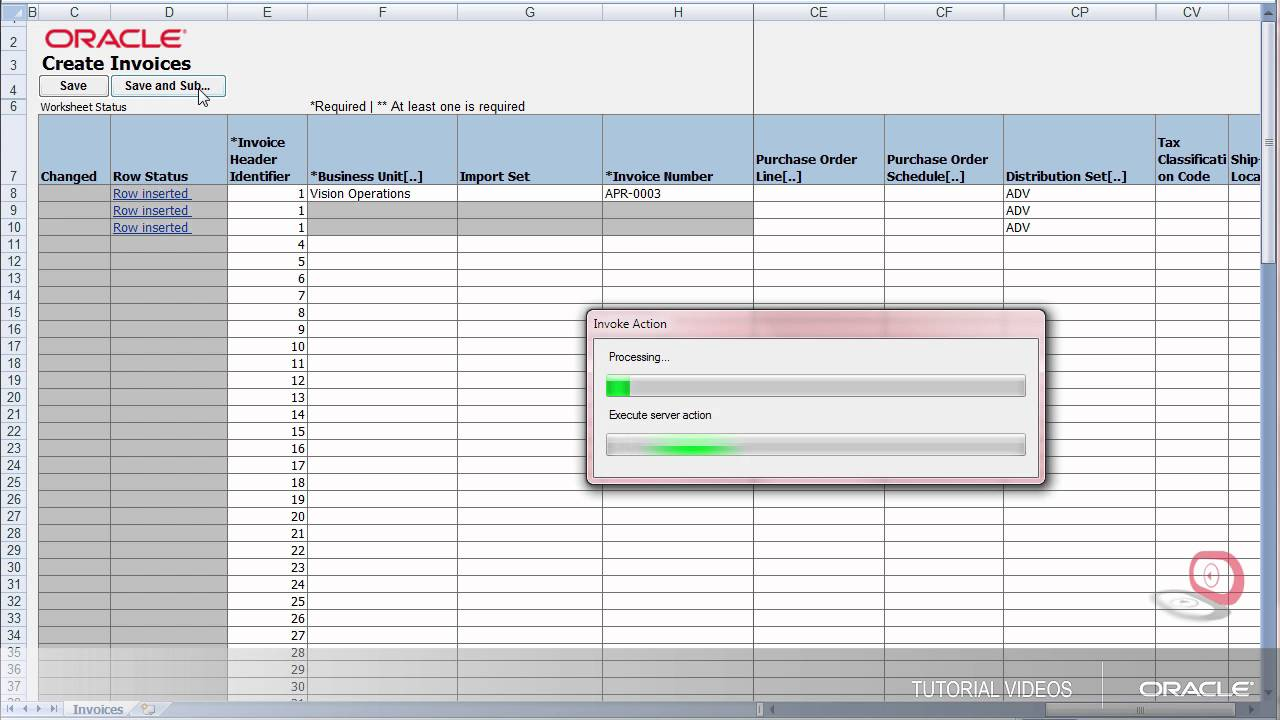 payables creating an invoice in a spreadsheet