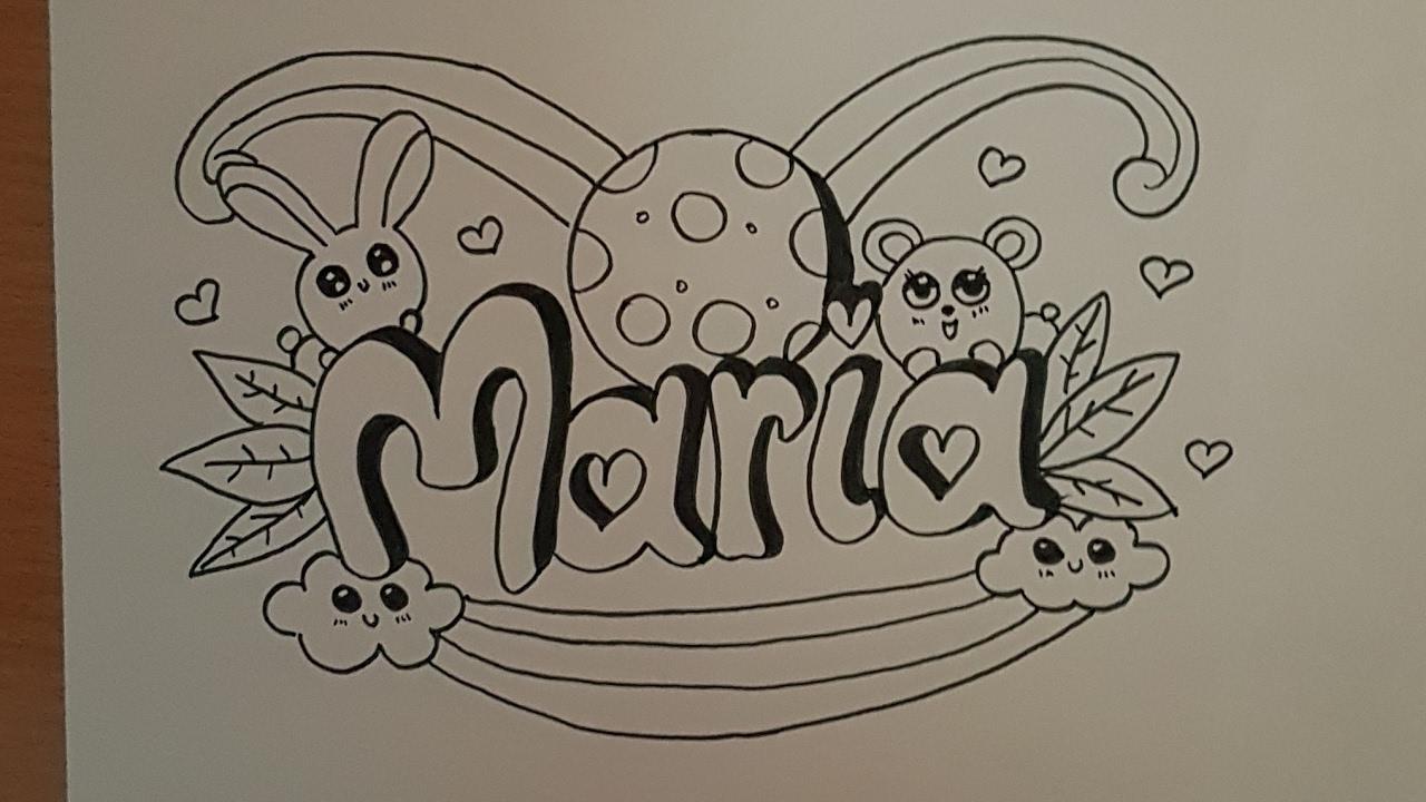 77bddcc1e Como dibujar el nombre maria estilo doodle art paso a paso- How to draw  name Maria