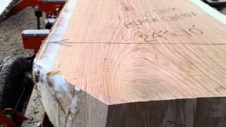 Live Edge Cherry Slab On Mill At Sawmill On Wheels