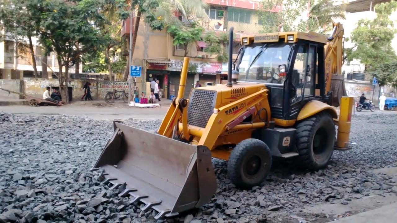 Tata Hitachi Jd 315v Backhoe Loader Road Construction Site In Wiring Diagram Kubota B26 Tlb Mumbai India 2014 Hd Video Youtube
