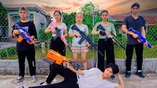 AVG Nerf War :  Police Girl SEAL X Warriors Nerf Guns Fight Bad Team Lost Assassin