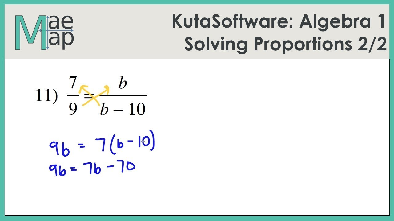Kutasoftware Algebra 1 Solving Proportions Part 2 Youtube