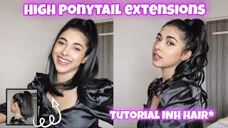 High Ponytail with extensions tutorial   INH hair review  How to apply hair extensions to short hair