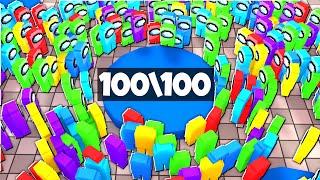 AMONG US НА 100 ИГРОКОВ В МАЙНКРАФТЕ!