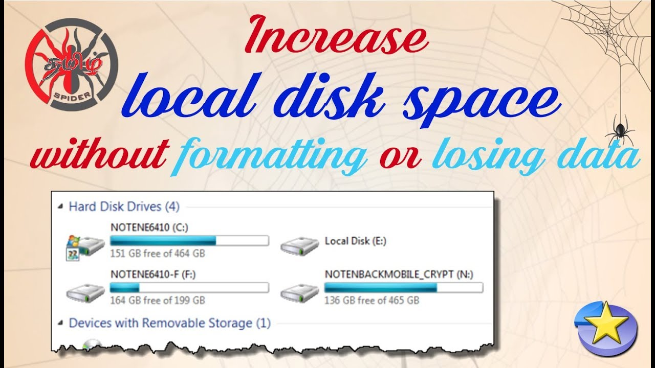 Increase local disk space in Windows 10/8/8 1/7   without formatting or  losing data   Tamil Spider