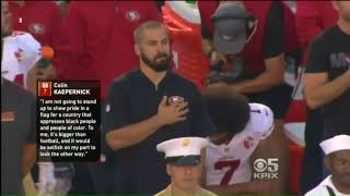 8 year old football players kneel during national anthem before game