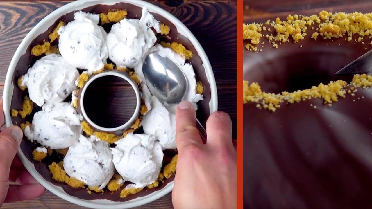 將8球冰淇淋放入蛋糕裡。切開時你會驚訝萬分! - YouTube
