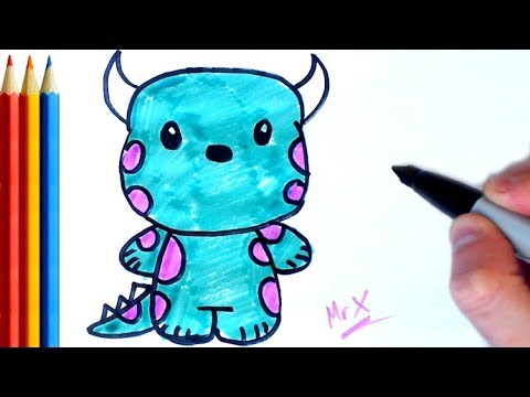 How To Draw Sullivan Monsters Inc Step By Step Tutorial For Kids