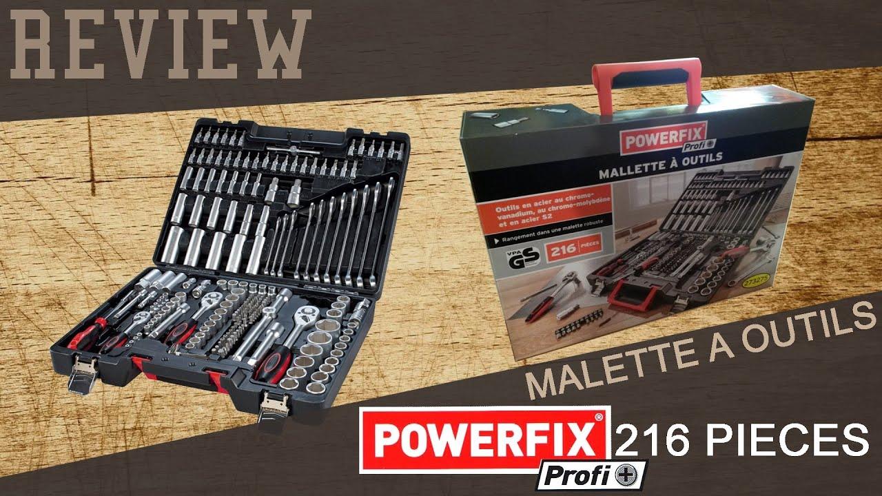review mallette outils powerfix 216 pi ces youtube. Black Bedroom Furniture Sets. Home Design Ideas