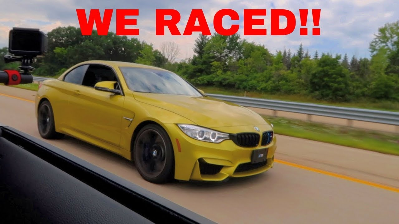 I raced a bmw m4 in my 18 ford mustang gt wow