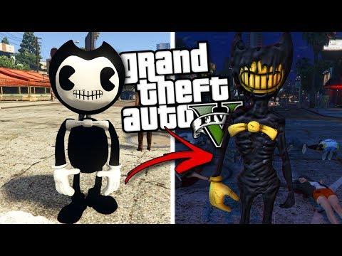 BENDY AND THE INK MACHINE MOD w/ BENDY & EVIL BENDY (GTA 5 Mods Gameplay)