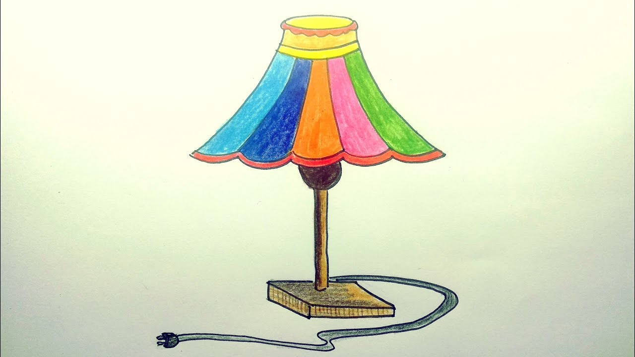 How To Draw A Table Lamp Step By