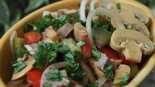 Салат из языка с шампиньонами  Пошаговый рецепт
