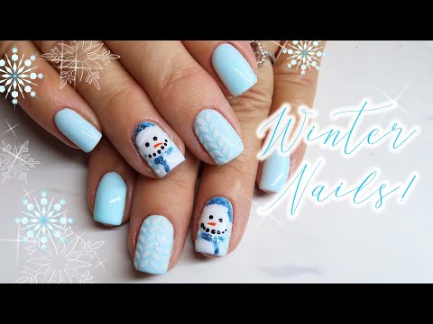 Winter Gel Nails | Snowman & Sweater Nail Art Tutorial!