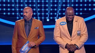 Bruce Smith Shocks Steve Harvey During 'Fast Money' - Celebrity Family Feud