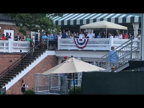 President Donald Trump takes motorcade back to skybox at U.S. Women's Open