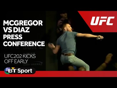 McGregor vs Diaz UFC 202 Press Conference goes off New Flash Game