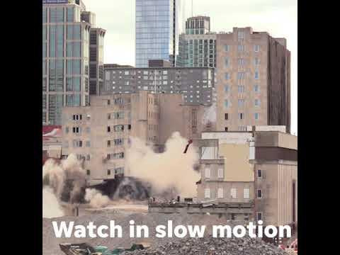 Sullivan tower in Nashville implosion in slow motion