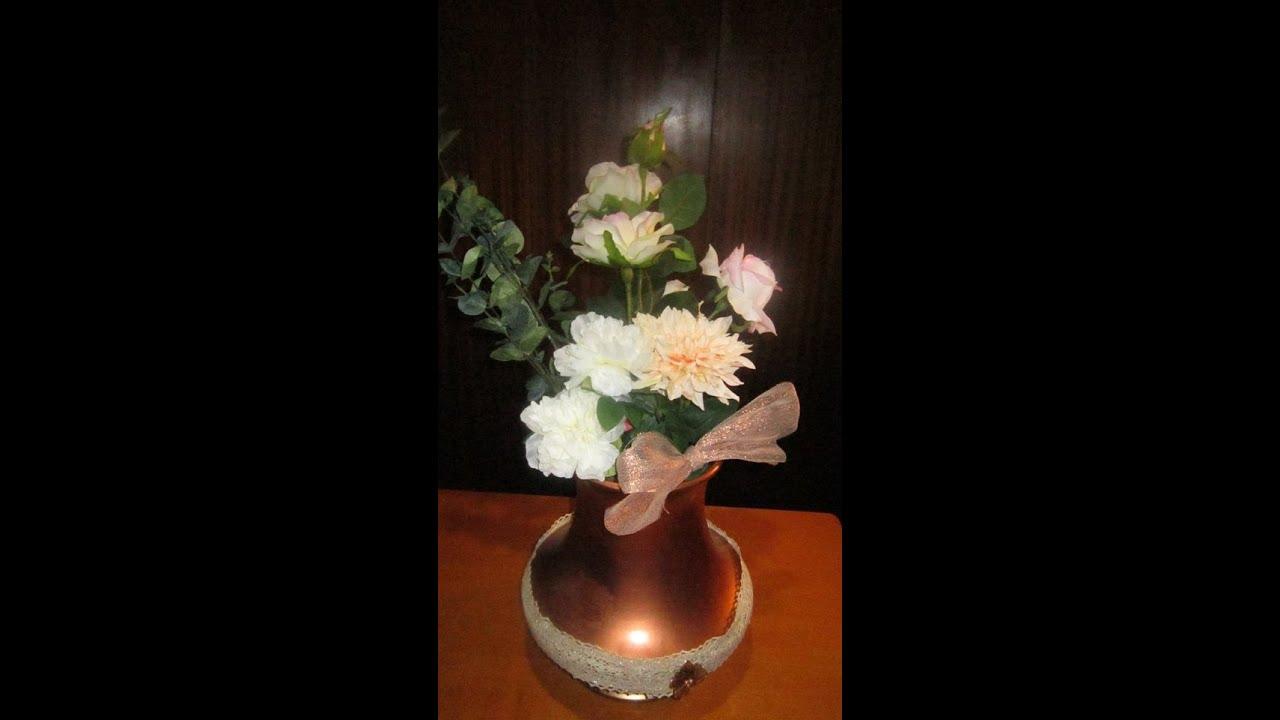 Arreglo con flores artificiales n 1 youtube - Arreglos de flores artificiales ...