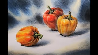 Paint the realistic still life with Watercolor 002 ( Sweet Bell Peppers ) Time-Lapse 靜物水彩002 - 甜椒 縮時