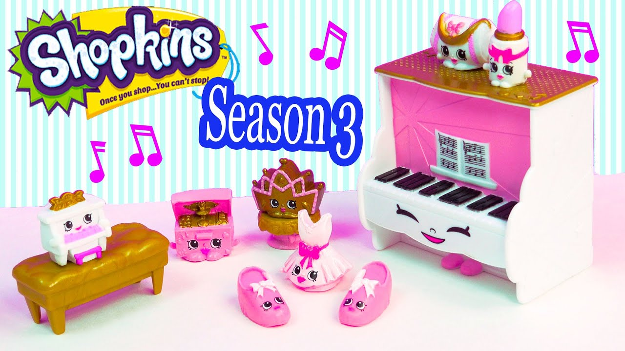 Shopkins Season 3 Playset Ballet Collection Fashion Spree Exclusive Piano Music Box Toy Unboxing