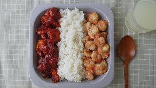 figcaption 쉬림프박스~[ 갈릭새우&칠리새우 Garlic shrimp&Chili Shrimp ] [우미스쿠킹 : 그녀의요리]