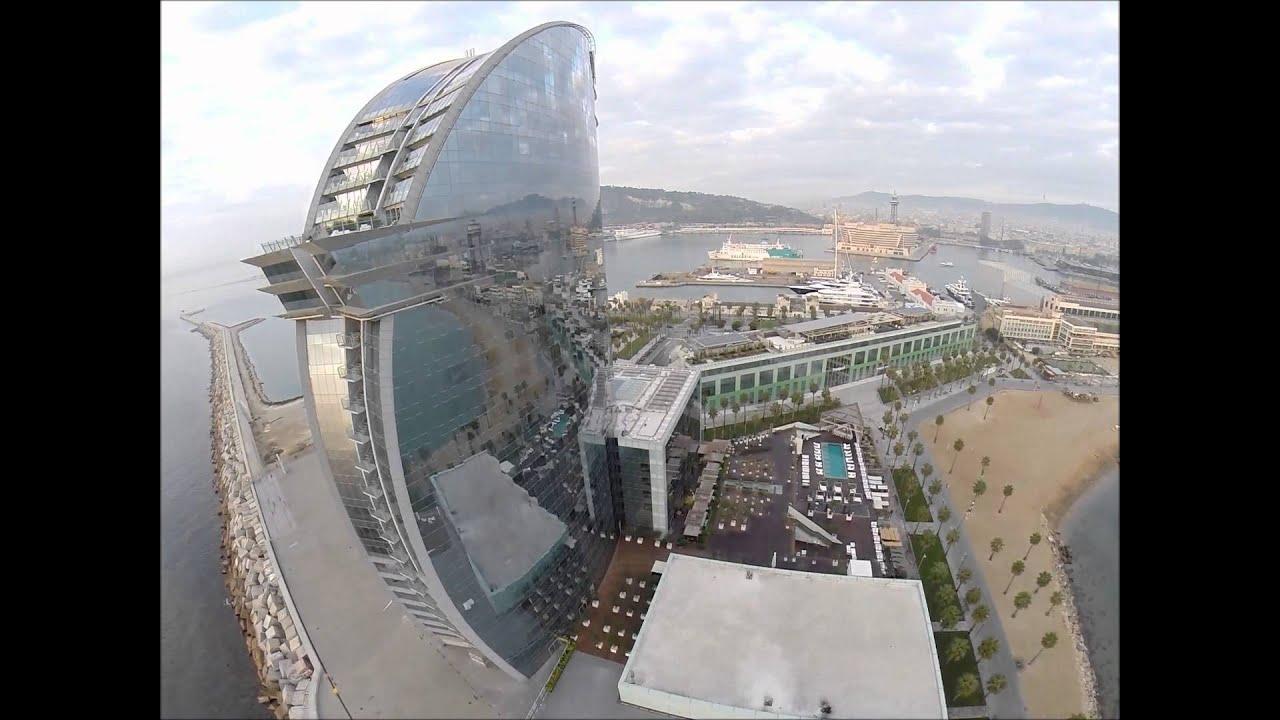 W hotel barcelona aerial view travel2planet youtube for Hotel w barcelona restaurante