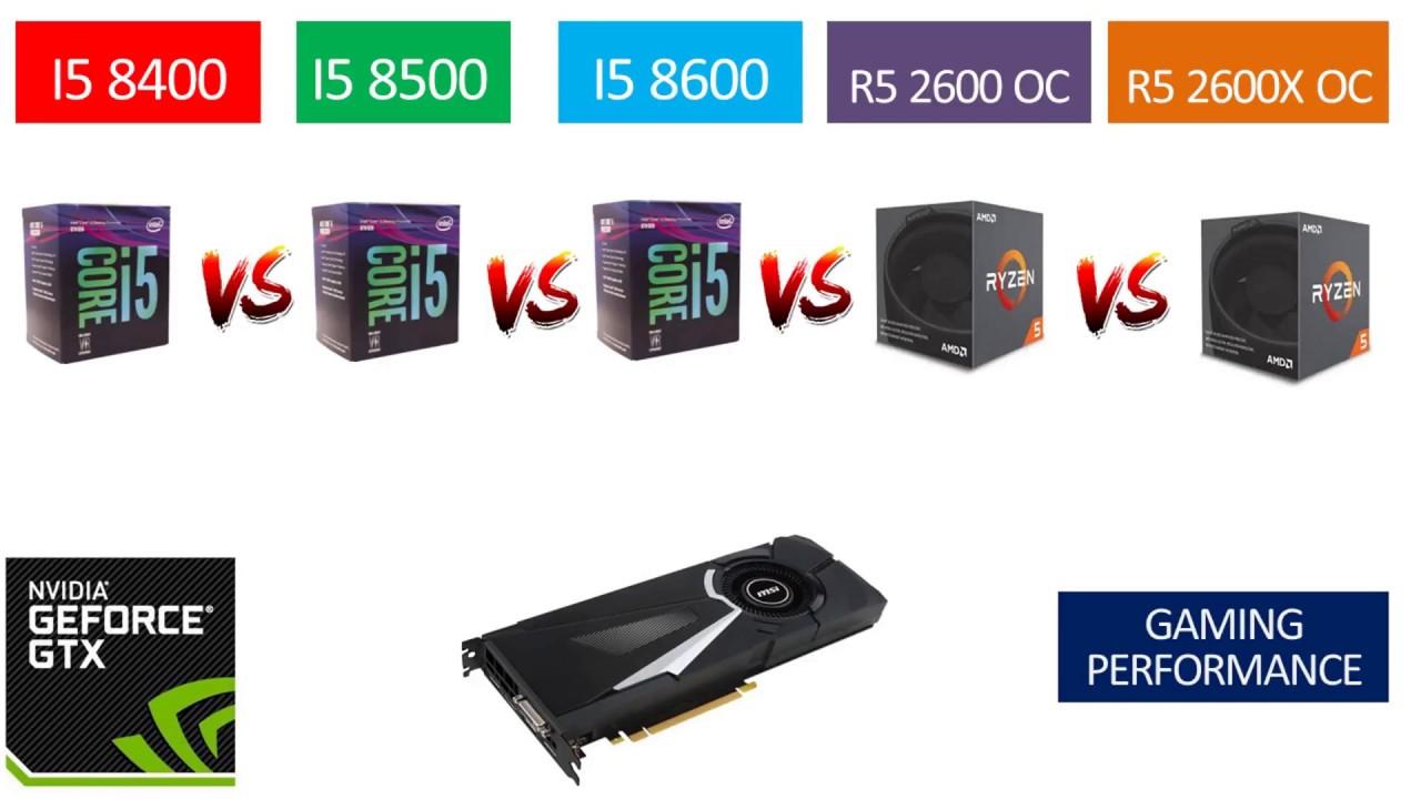 Ryzen 5 2600 OC vs Ryzen 5 2600X OC vs i5 8400 vs i5 8500 vs i5 8600 - GTX  1080 8GB