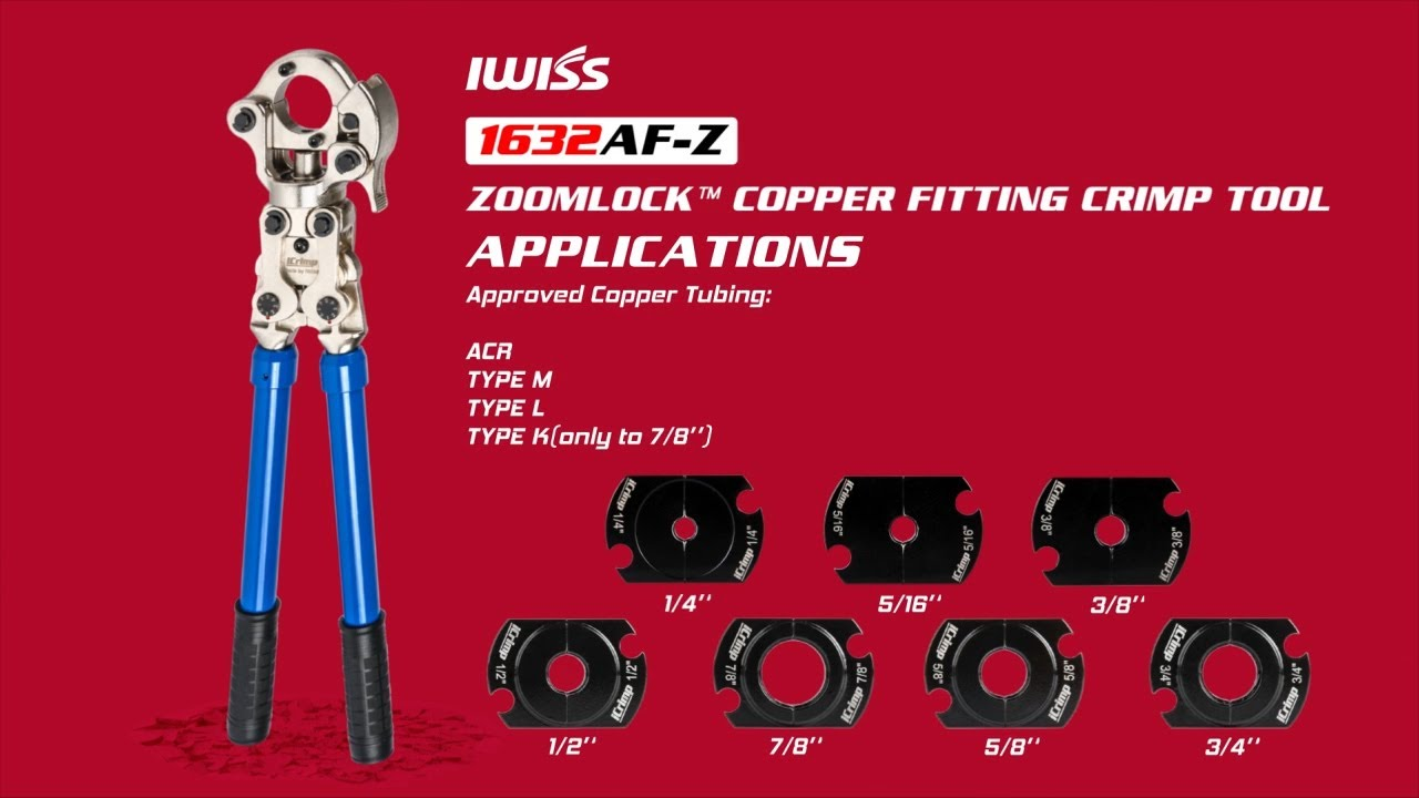 IWISS iCrimp Plumbing Pressing Tool Kit Works for Zoomlock Copper fittings