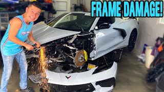 GRINDING on Rod Waves WRECKED C8 Corvette! - FOUND MORE DAMAGE!