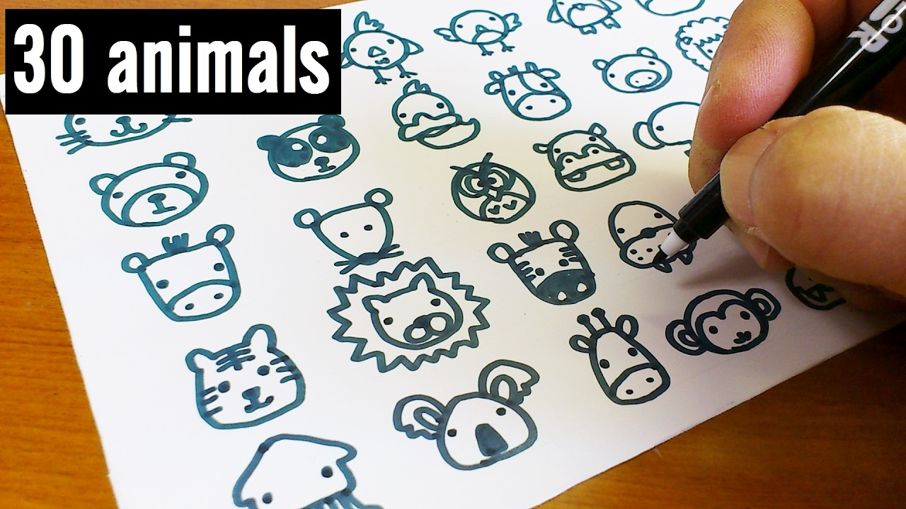 How To Draw 30 Animals Cute Doodle Kawaii Easy Doodle For Kids