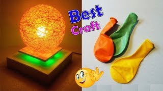 How to make a homemade lampshade | Pendent Lamp|Wrapped Balloon lamp|Balloon craft